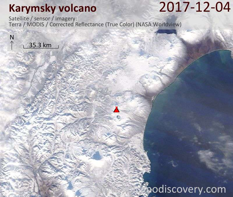 Satellite image of Karymsky volcano on  4 Dec 2017
