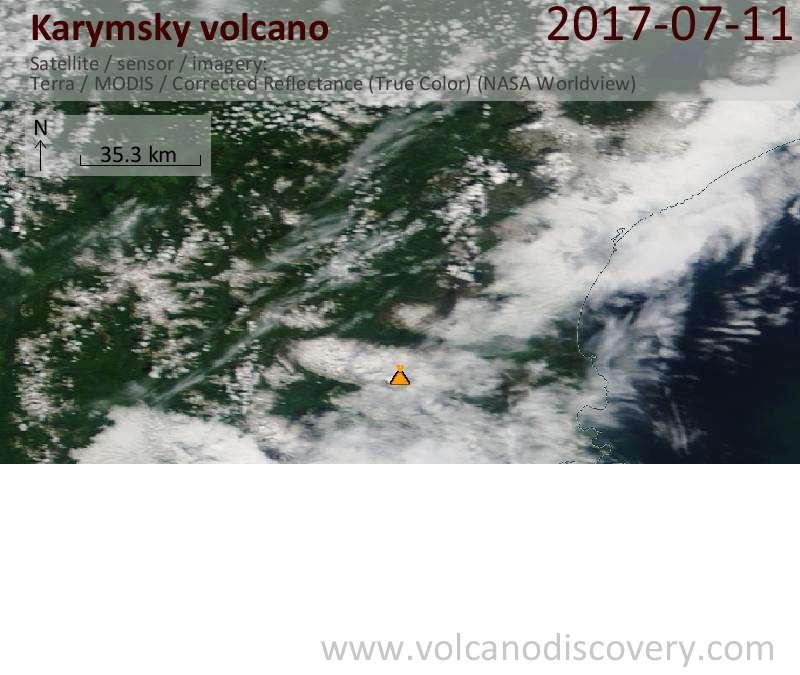 Satellite image of Karymsky volcano on 11 Jul 2017