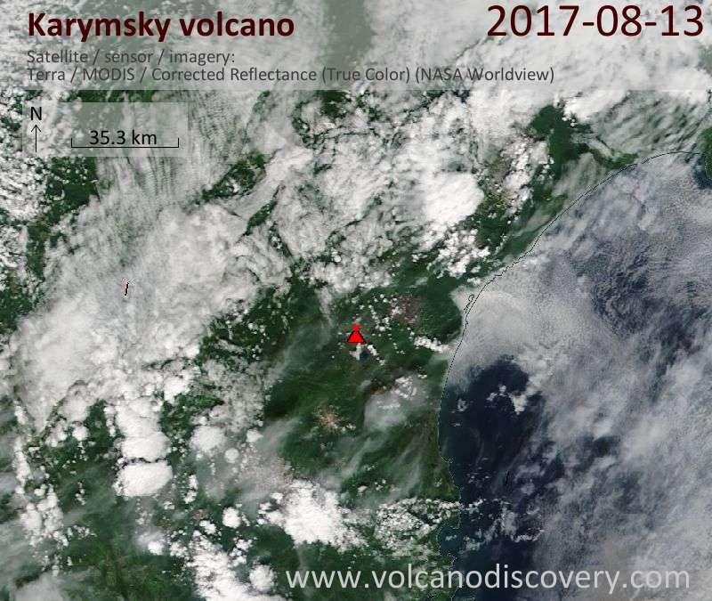 Satellite image of Karymsky volcano on 13 Aug 2017