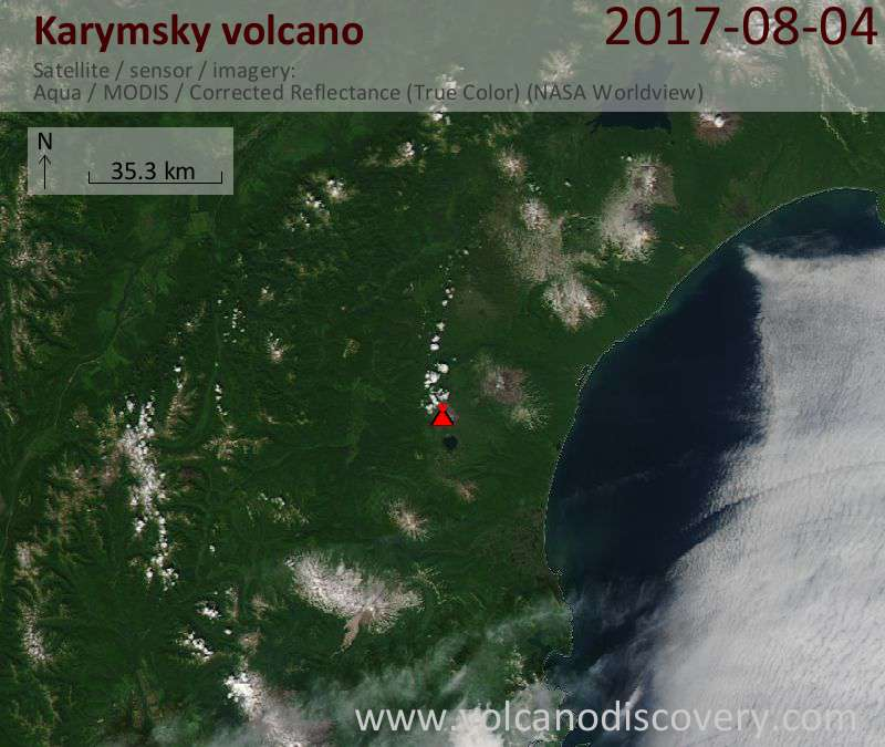 Satellite image of Karymsky volcano on 7 Aug 2017