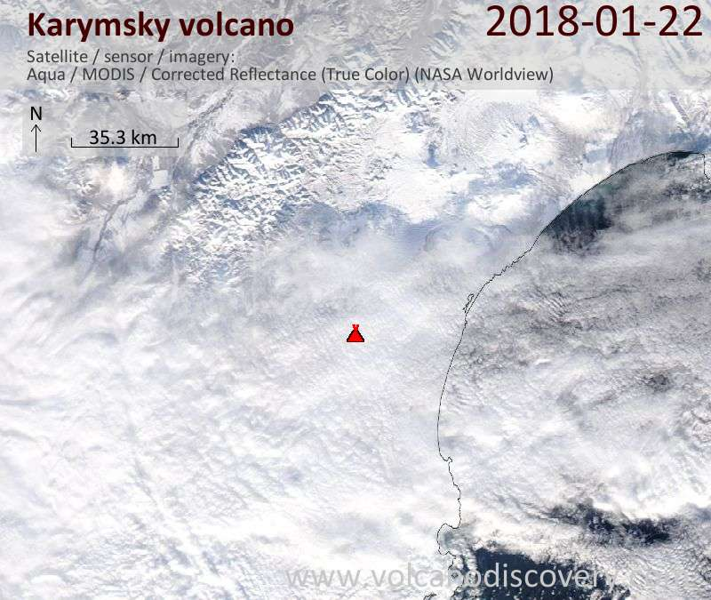 Satellite image of Karymsky volcano on 22 Jan 2018