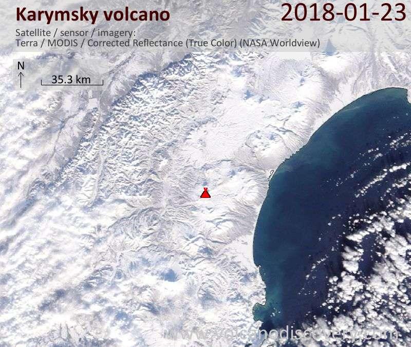 Satellite image of Karymsky volcano on 23 Jan 2018