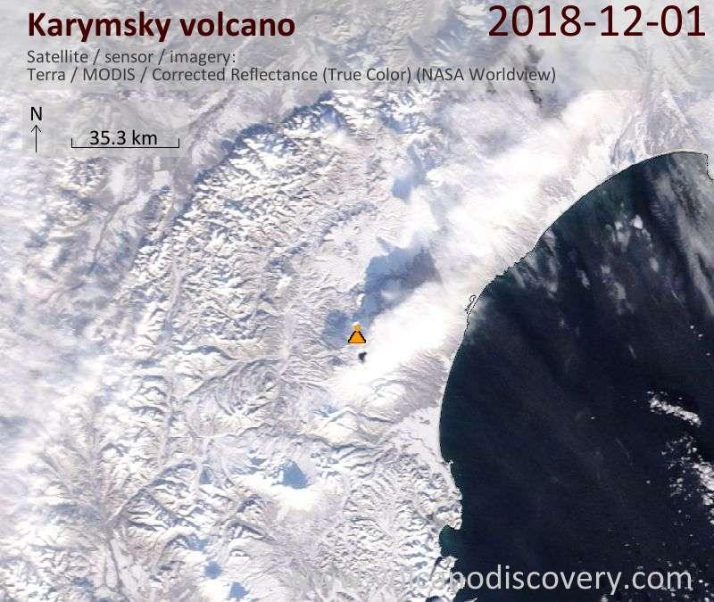 Satellite image of Karymsky volcano on  1 Dec 2018