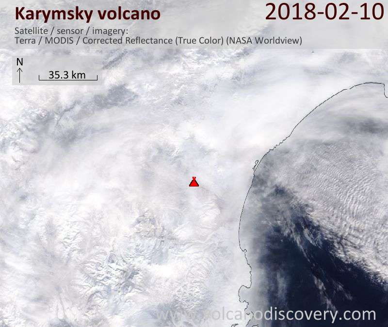 Satellite image of Karymsky volcano on 10 Feb 2018