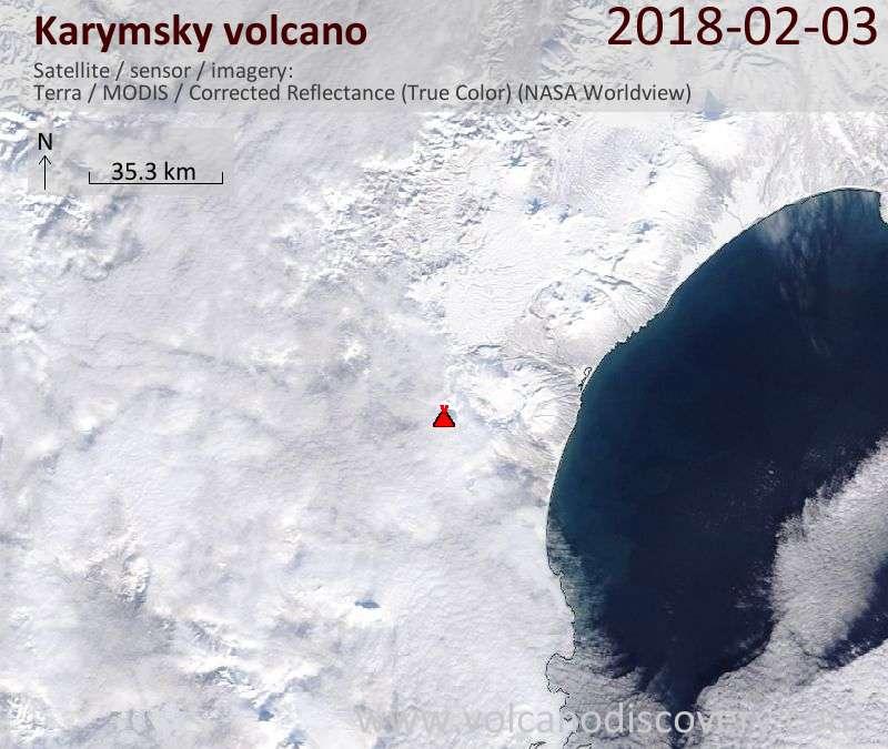 Satellite image of Karymsky volcano on  3 Feb 2018