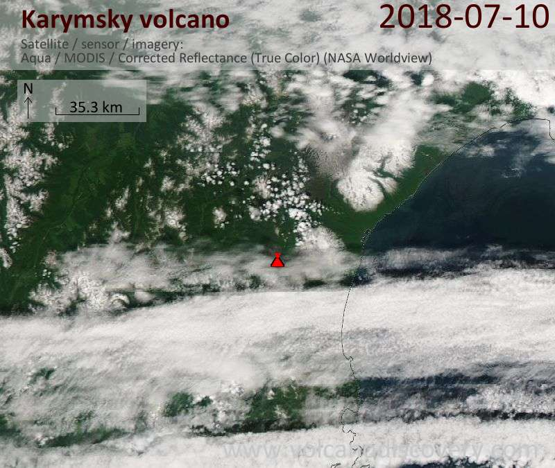Satellite image of Karymsky volcano on 10 Jul 2018