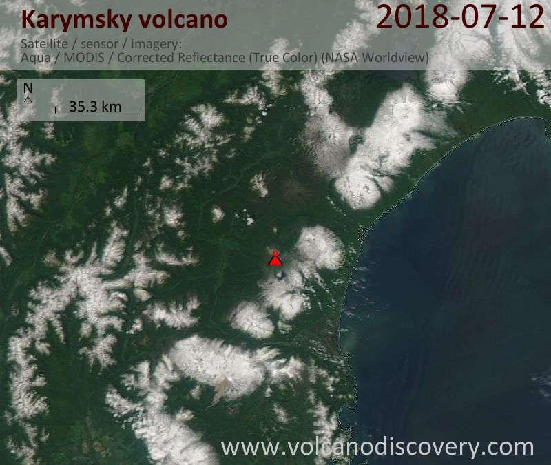 Satellite image of Karymsky volcano on 12 Jul 2018