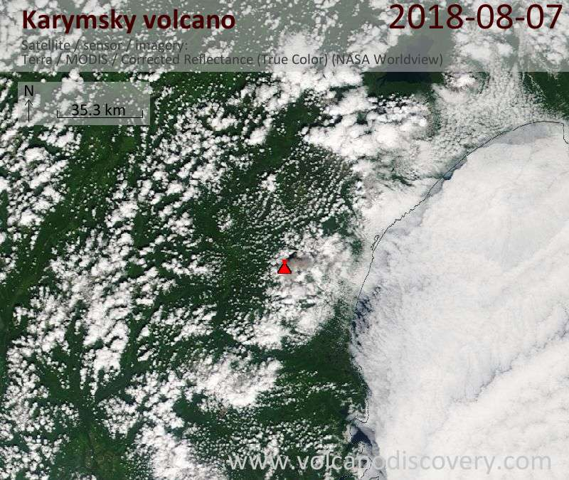 Satellite image of Karymsky volcano on  7 Aug 2018