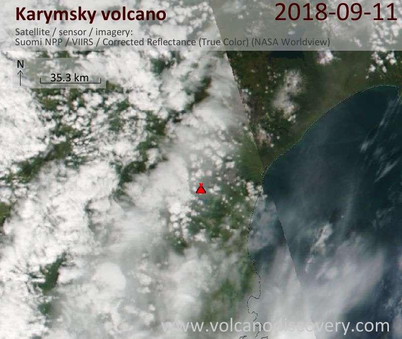 Satellite image of Karymsky volcano on 11 Sep 2018