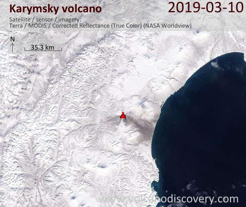 Satellite image of Karymsky volcano on 10 Mar 2019