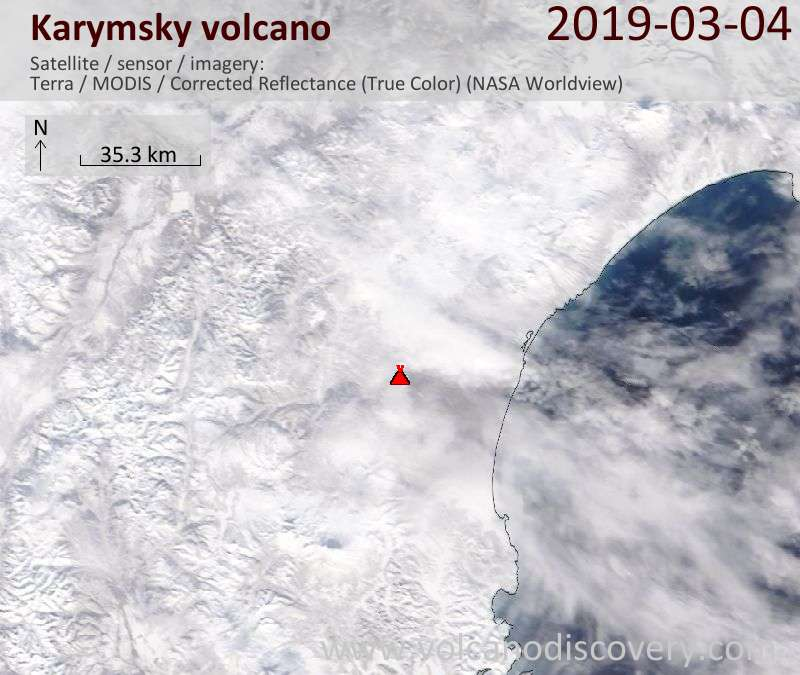 Satellite image of Karymsky volcano on  4 Mar 2019
