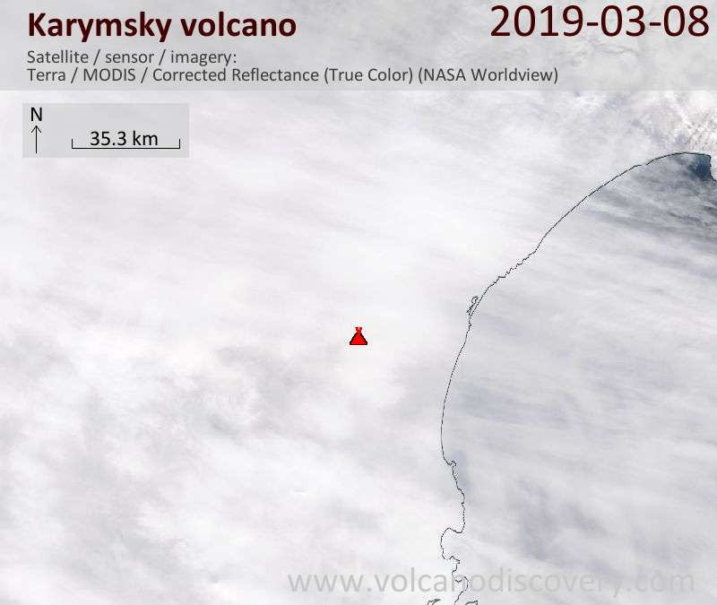Satellite image of Karymsky volcano on  8 Mar 2019