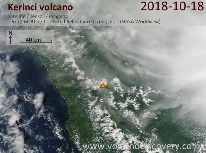 Satellite image of Kerinci volcano on 18 Oct 2018