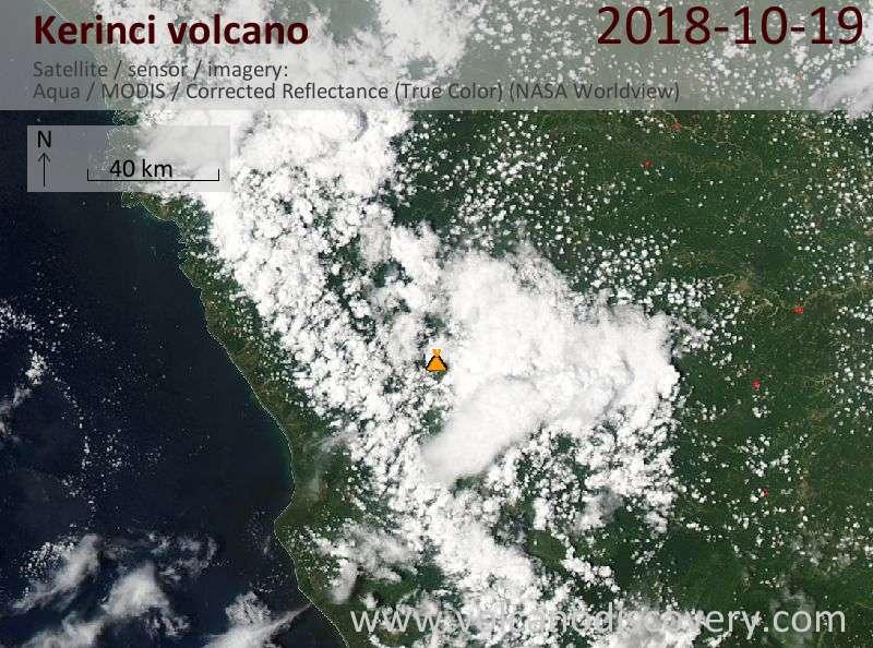 Satellite image of Kerinci volcano on 20 Oct 2018