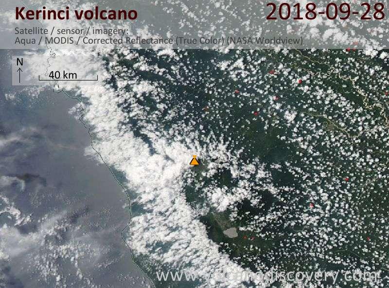 Satellite image of Kerinci volcano on 28 Sep 2018