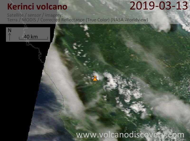 Satellite image of Kerinci volcano on 13 Mar 2019
