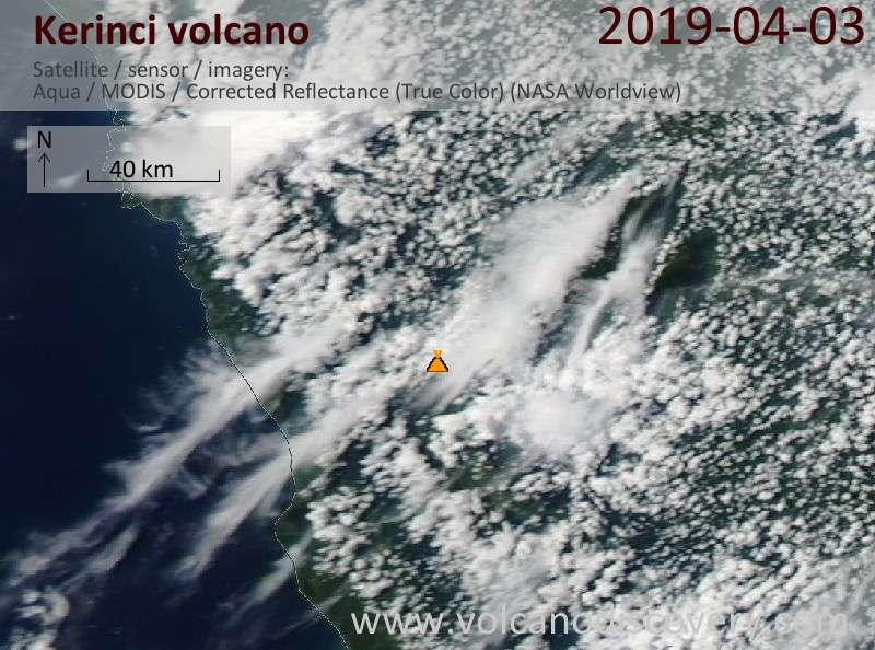 Satellite image of Kerinci volcano on  3 Apr 2019