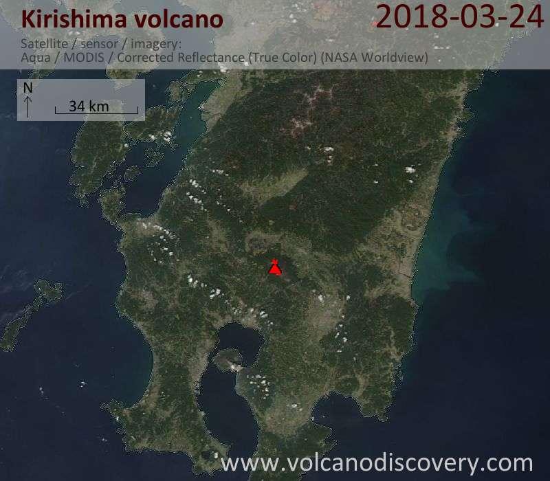 Satellite image of Kirishima volcano on 24 Mar 2018
