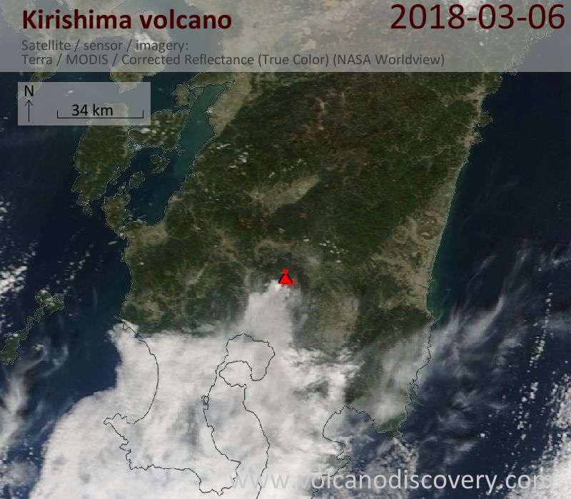 Satellite image of Kirishima volcano on  6 Mar 2018