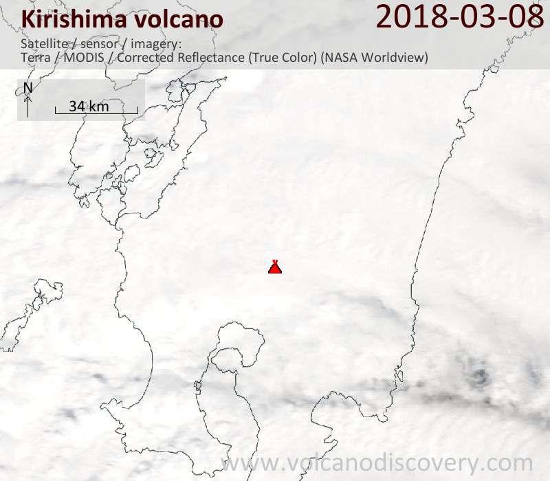 Satellite image of Kirishima volcano on  8 Mar 2018