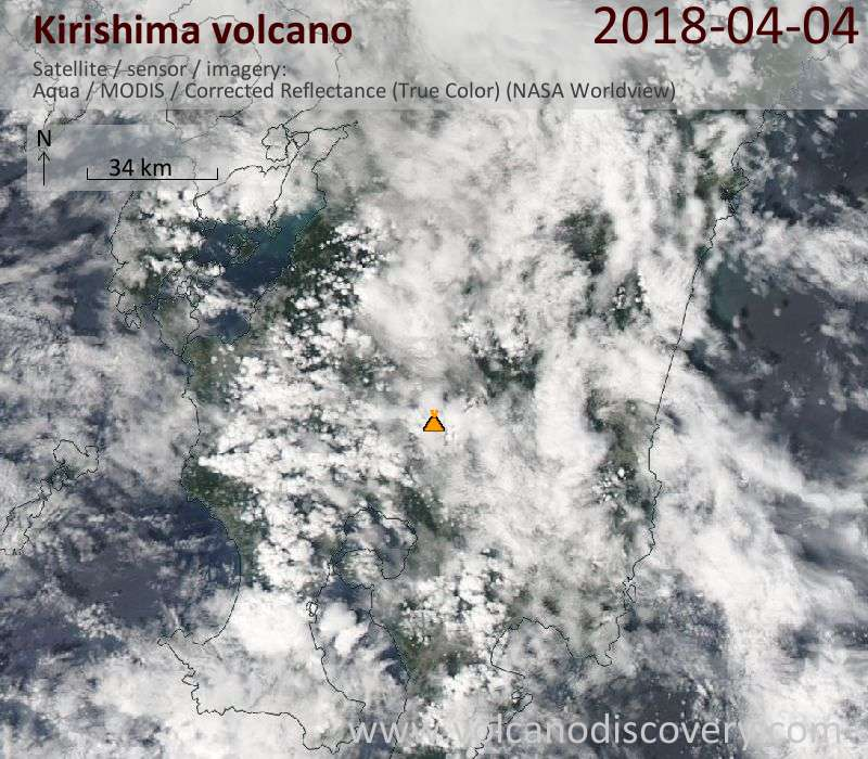Satellite image of Kirishima volcano on  4 Apr 2018