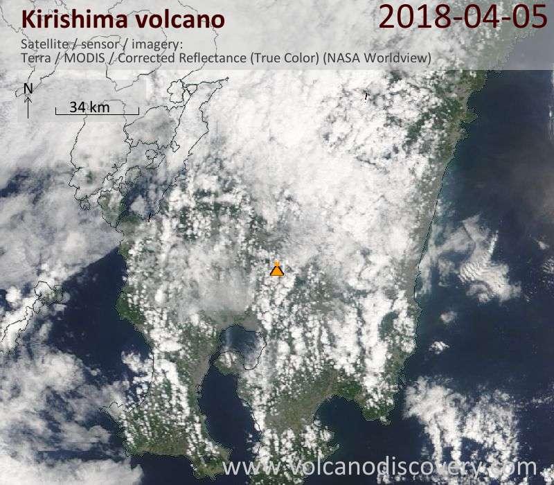 Satellite image of Kirishima volcano on  5 Apr 2018