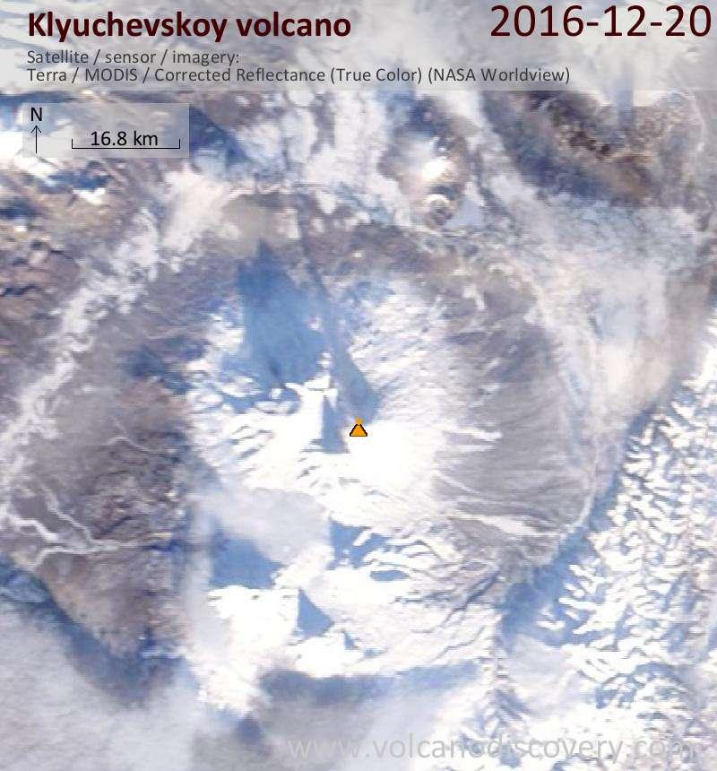 Satellite image of Klyuchevskoy volcano on 20 Dec 2016