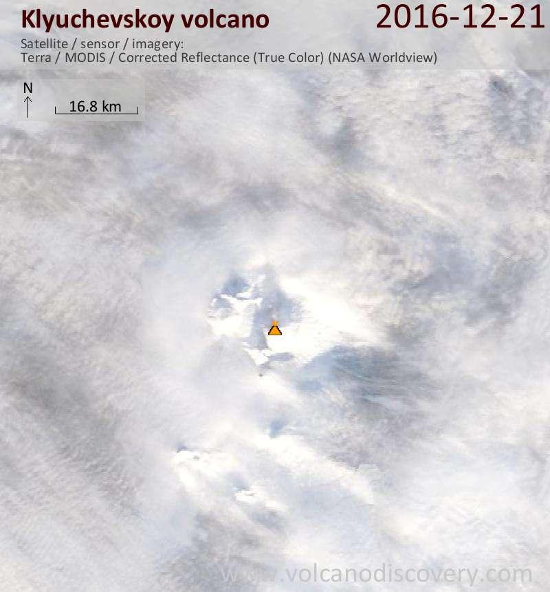 Satellite image of Klyuchevskoy volcano on 21 Dec 2016