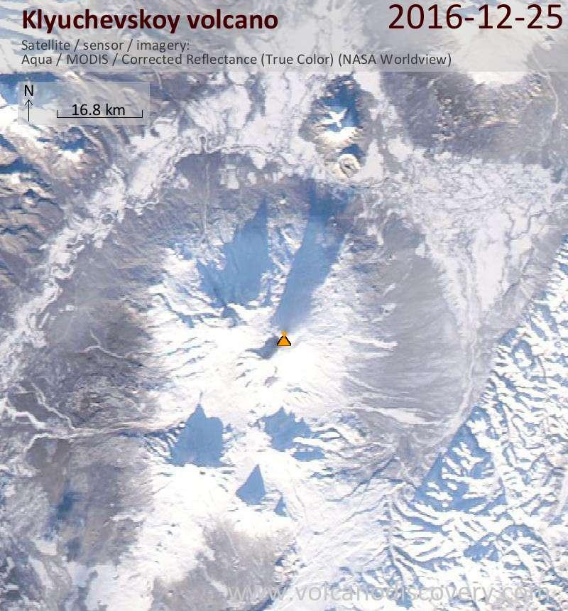 Satellite image of Klyuchevskoy volcano on 25 Dec 2016