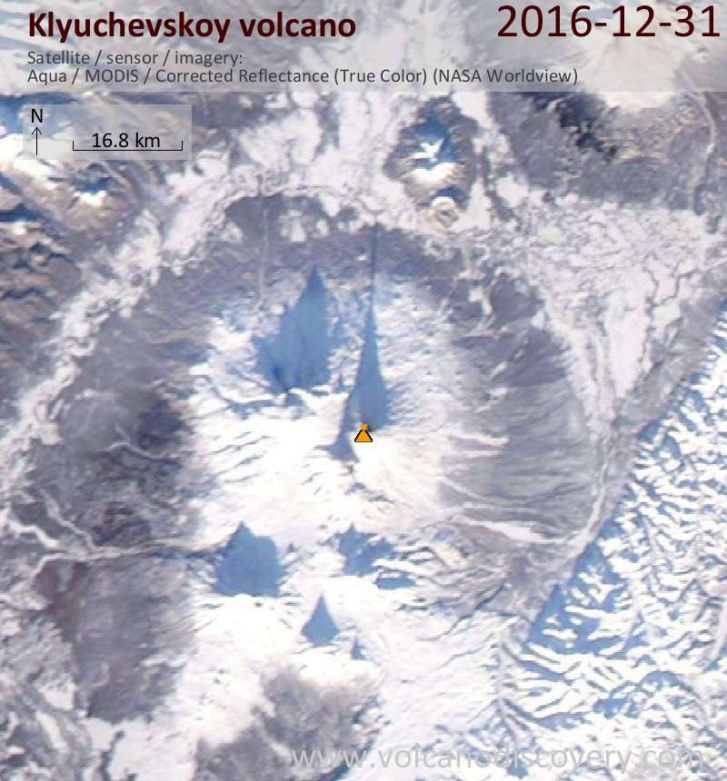 Satellite image of Klyuchevskoy volcano on 31 Dec 2016