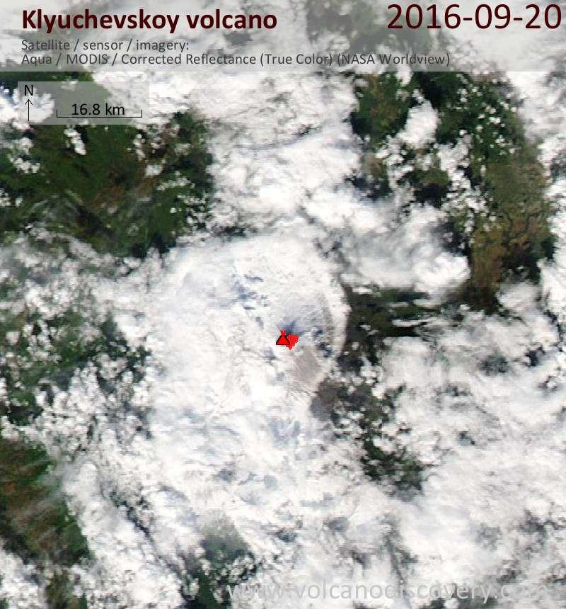 Satellite image of Klyuchevskoy volcano on 20 Sep 2016