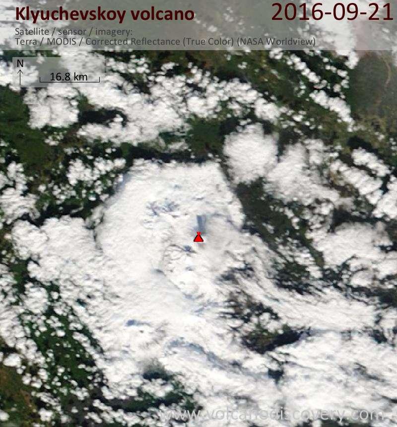 Satellite image of Klyuchevskoy volcano on 21 Sep 2016