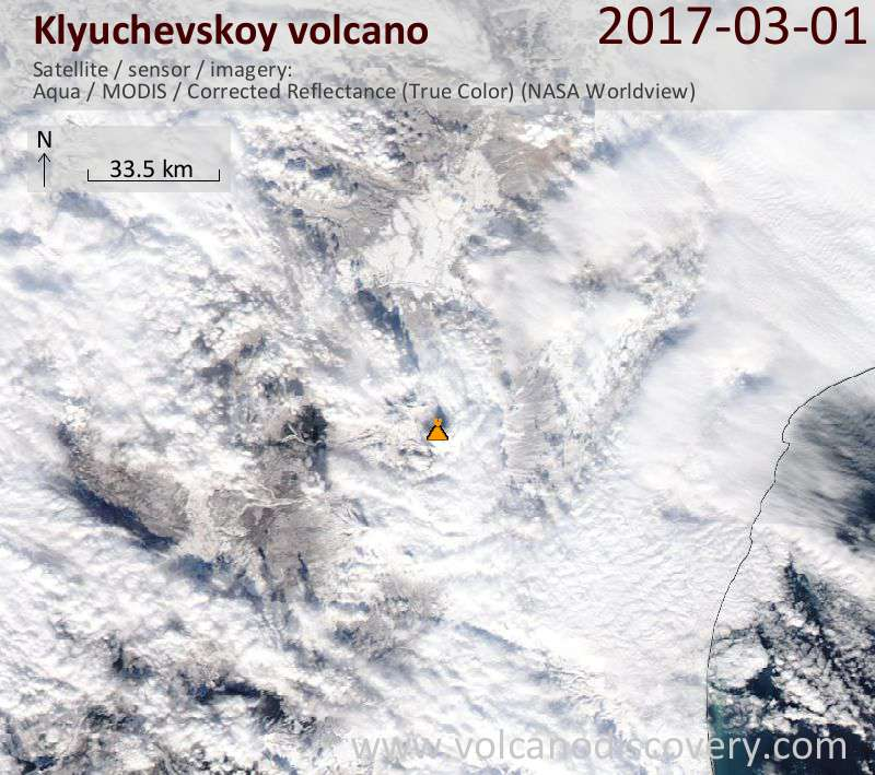 Satellite image of Klyuchevskoy volcano on  1 Mar 2017