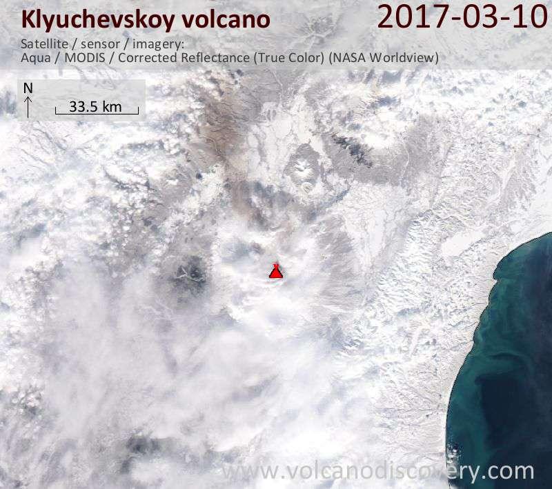 Satellite image of Klyuchevskoy volcano on 10 Mar 2017