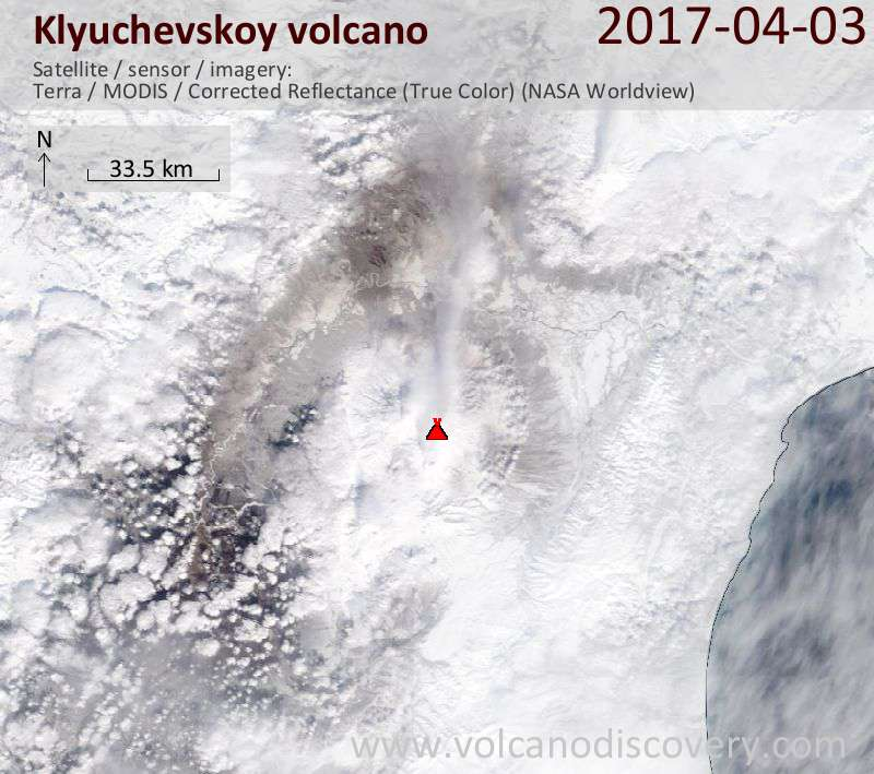 Satellite image of Klyuchevskoy volcano on  4 Apr 2017