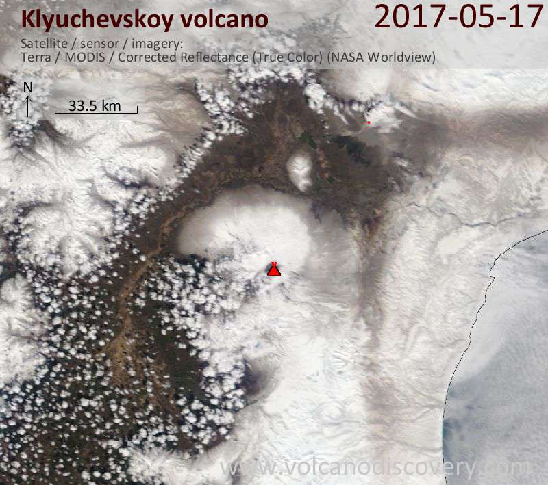 Satellite image of Klyuchevskoy volcano on 17 May 2017
