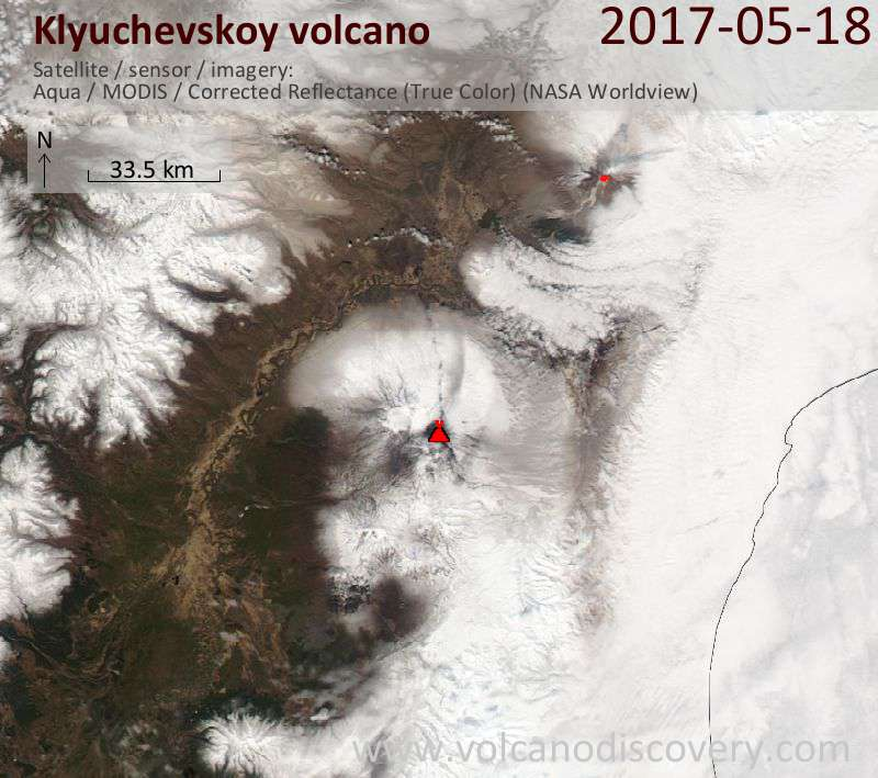 Satellite image of Klyuchevskoy volcano on 18 May 2017