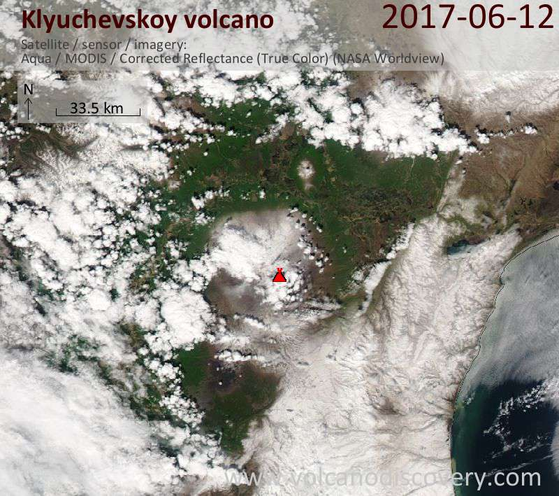 Satellite image of Klyuchevskoy volcano on 12 Jun 2017
