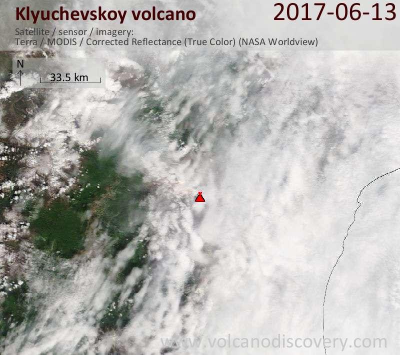 Satellite image of Klyuchevskoy volcano on 13 Jun 2017