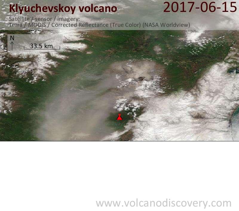 Satellite image of Klyuchevskoy volcano on 15 Jun 2017