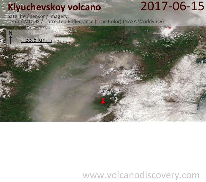 Satellite image of Klyuchevskoy volcano on 16 Jun 2017