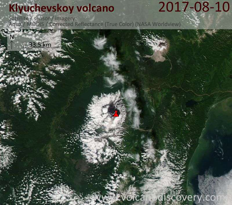 Satellite image of Klyuchevskoy volcano on 10 Aug 2017