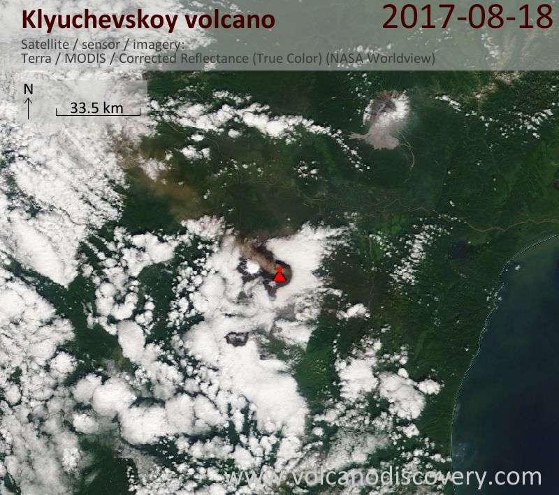 Satellite image of Klyuchevskoy volcano on 18 Aug 2017