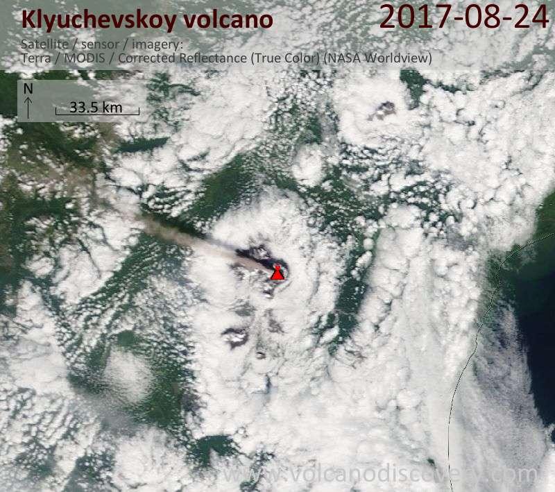Satellite image of Klyuchevskoy volcano on 24 Aug 2017