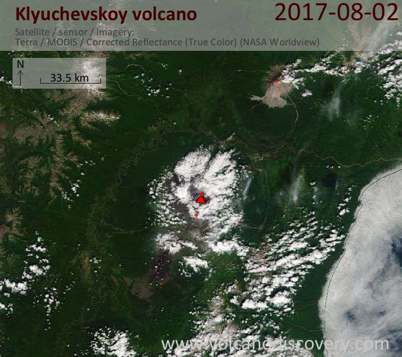 Satellite image of Klyuchevskoy volcano on  3 Aug 2017