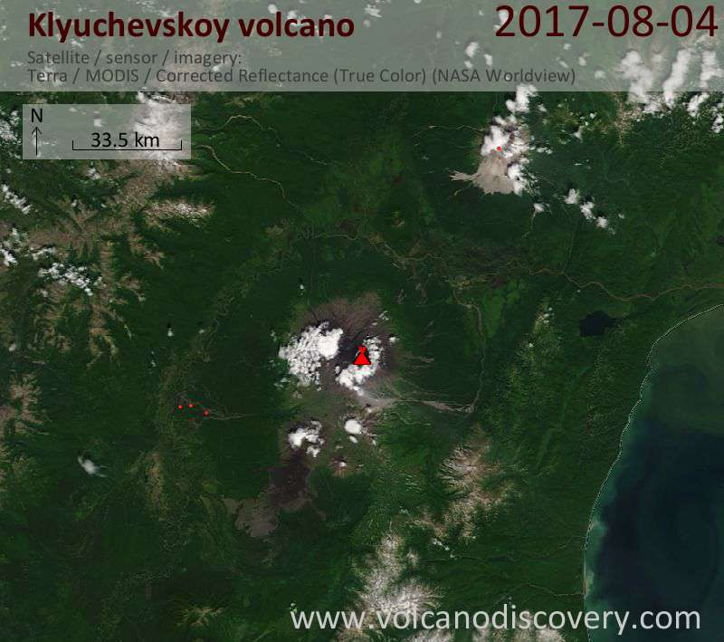 Satellite image of Klyuchevskoy volcano on  4 Aug 2017