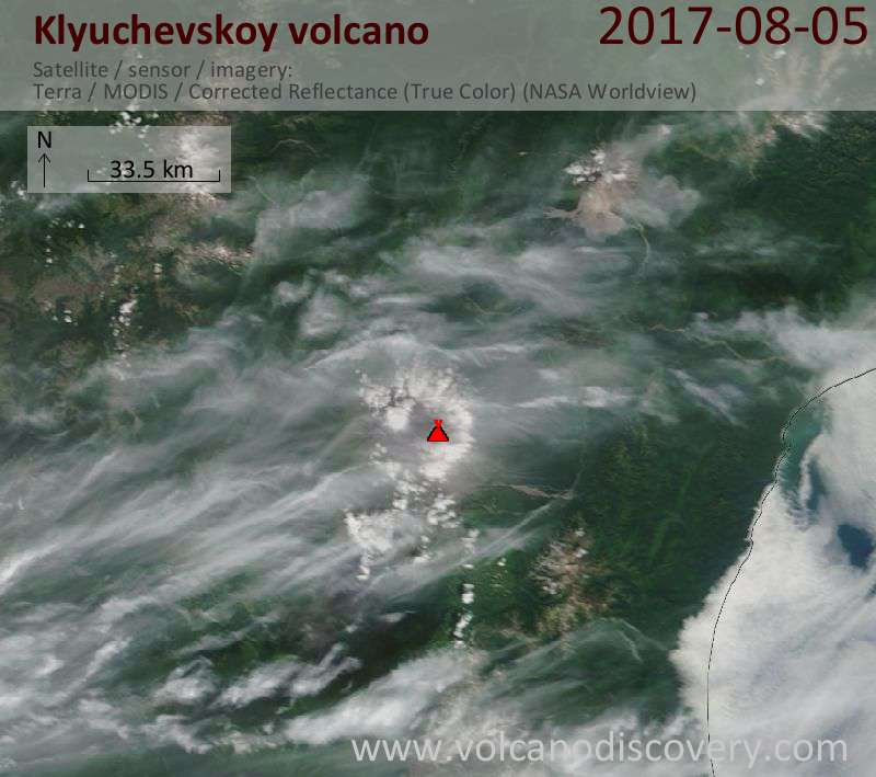 Satellite image of Klyuchevskoy volcano on  7 Aug 2017