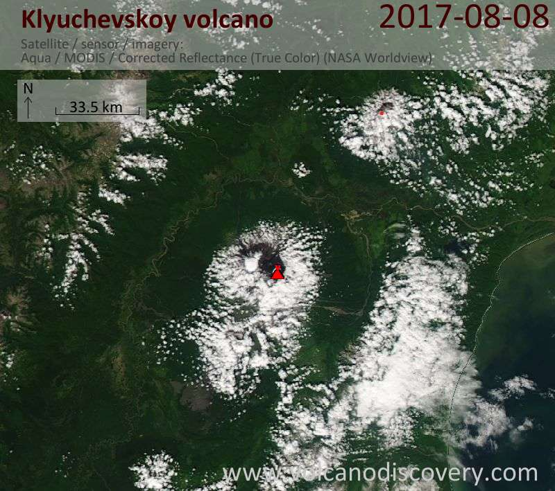 Satellite image of Klyuchevskoy volcano on  8 Aug 2017
