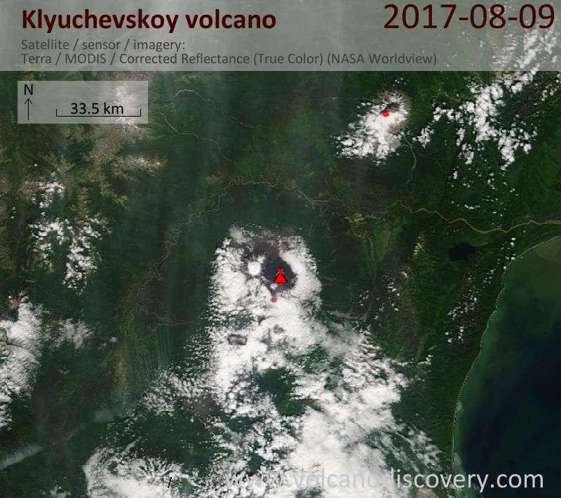 Satellite image of Klyuchevskoy volcano on  9 Aug 2017