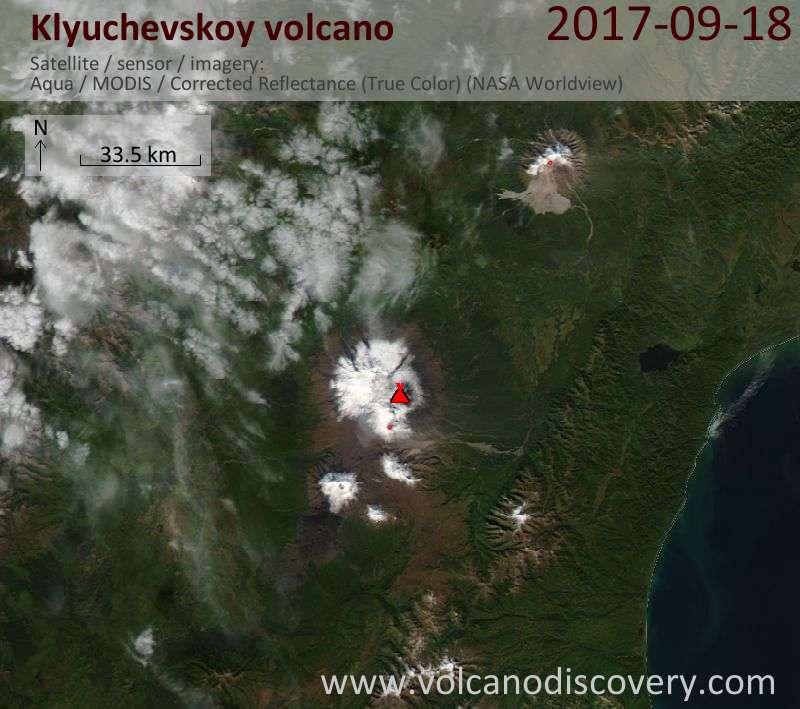 Satellite image of Klyuchevskoy volcano on 18 Sep 2017